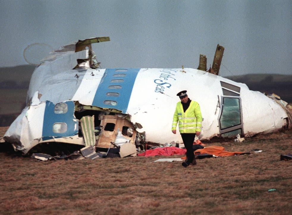 Wreckage of Pan Am Flight 103 near Lockerbie in 1989