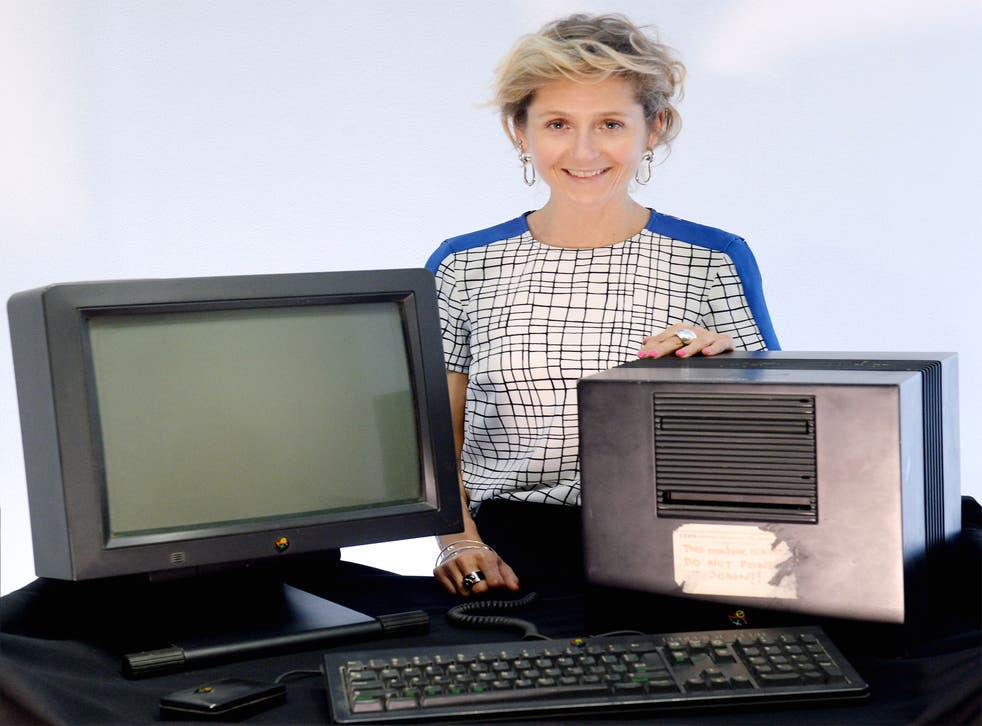 Baroness Lane-Fox with the NeXT cube, the original machine on which Sir Tim Berners-Lee designed the World Wide Web