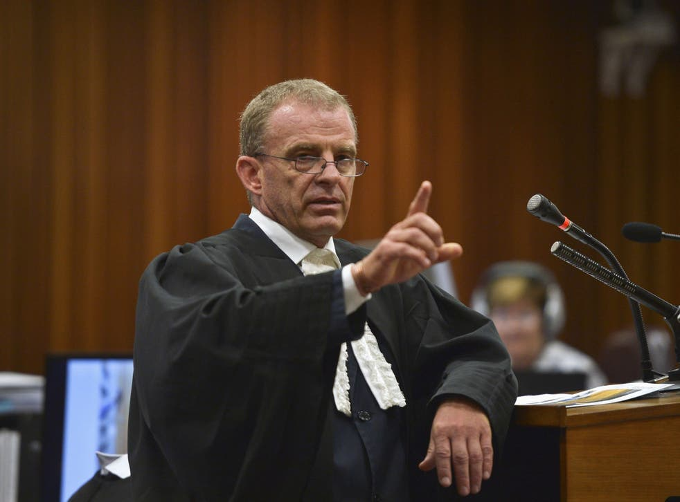 State prosecutor Gerrie Nel makes a point during the trial of Oscar Pistorius at the North Gauteng High Court in Pretoria
