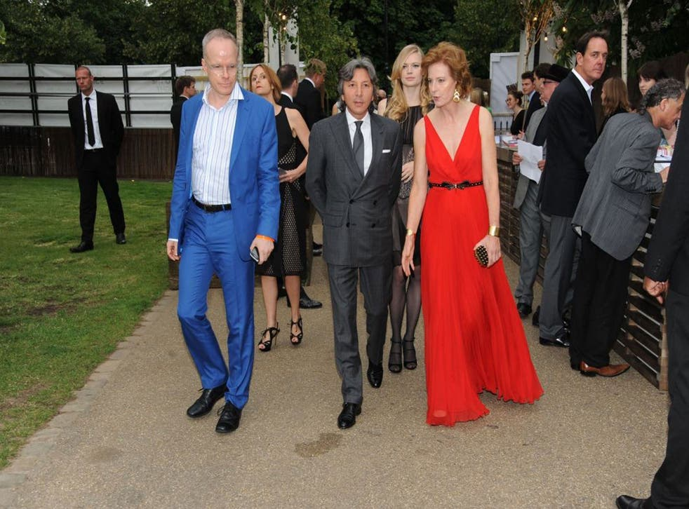 Snake charmer: Hans-Ulrich Obrist, Leon Max and Julia Peyton-Jones, at the Serpentine Summer Party in London's Hyde Park, June 2012