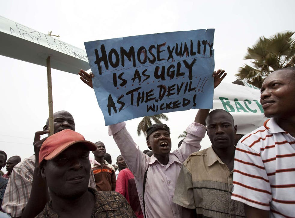 Anti-gay protesters rally in Jinja, east of the capital Kampala