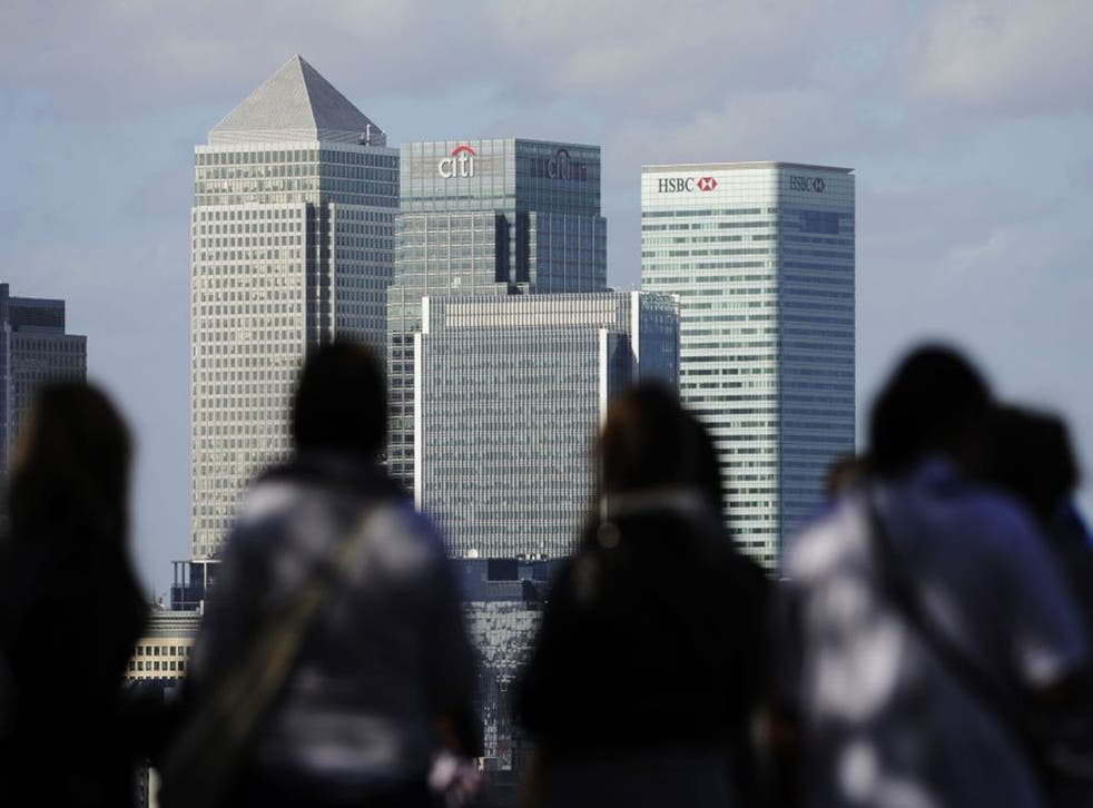 The main banks in London's Canary Wharf