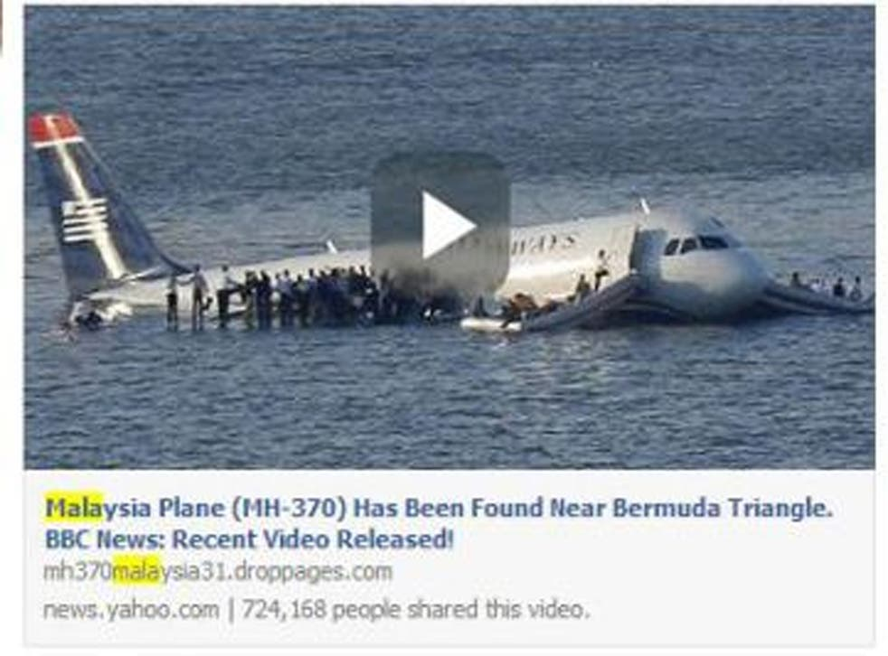 The posts contain videos that look legitimate and claim the plane has been found in various places, from the Bermuda Triangle to having been spotted at sea