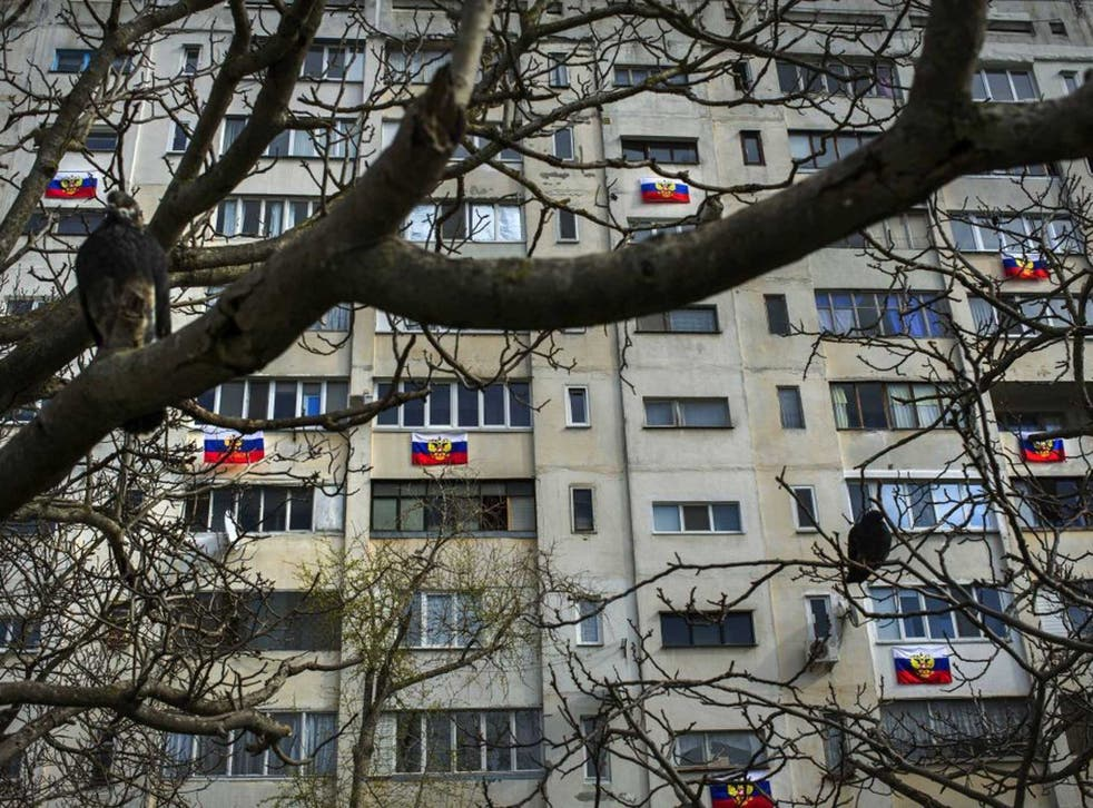 No contest: Russian flags show how people of Sevastopol will vote in today's referendum