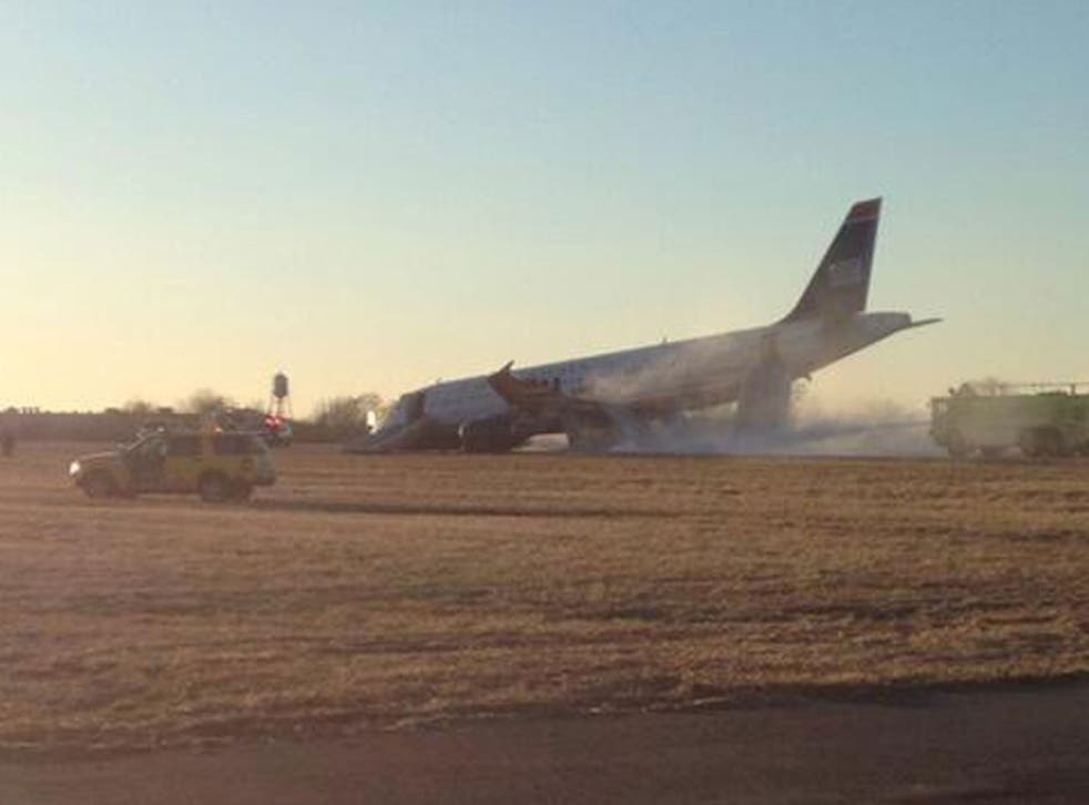 The US Airways plane crashed due to a blown tyre