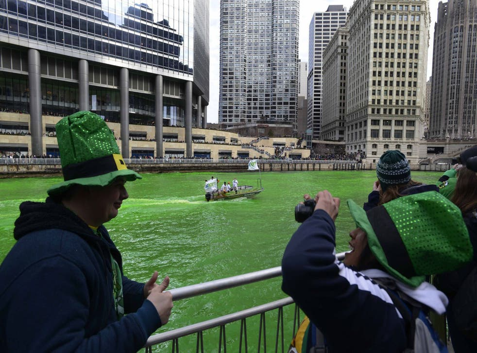 The Chicago River being dyed green ahead of the St. Patrick's Day parade