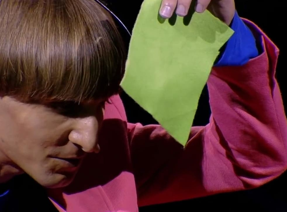 Neil Harbisson demonstrating how he can 'hear' colours