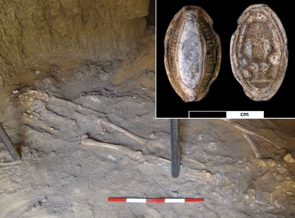The 3,200-year-old skeleton was found in its original burial position in a tomb close to the River Nile in the Amara West site, Sudan