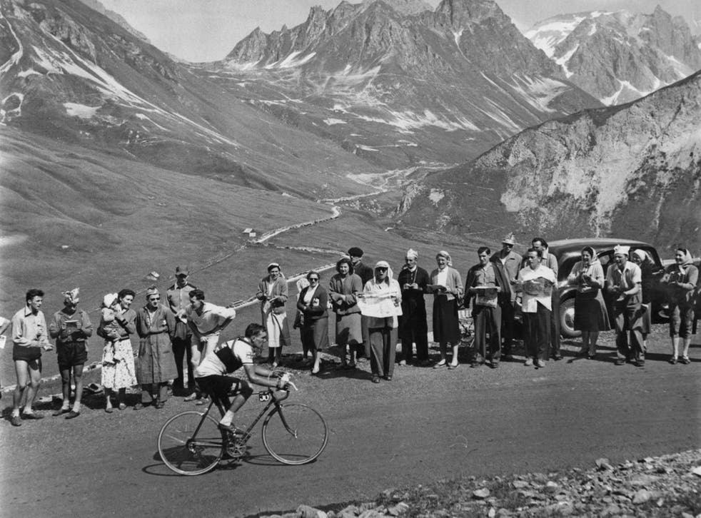 Brian Robinson suffers on the legendary climb of the Col du Galibier in the Alps in 1955
