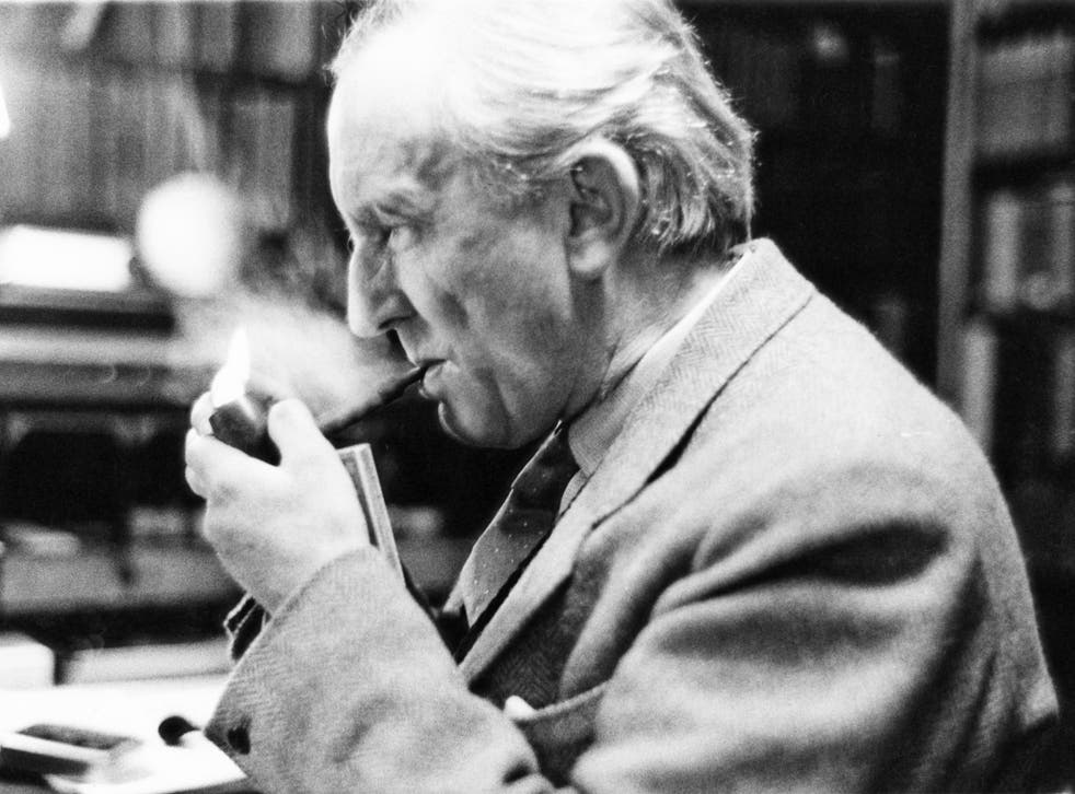 JRR Tolkien in his study at Merton College, Oxford, in 1955