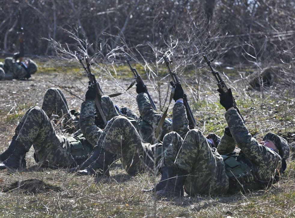 Ukrainian border guards perform an exercise in anti-air attack during training at a military camp in the village of Alekseyevka on the Ukrainian-Russian border, eastern Ukraine