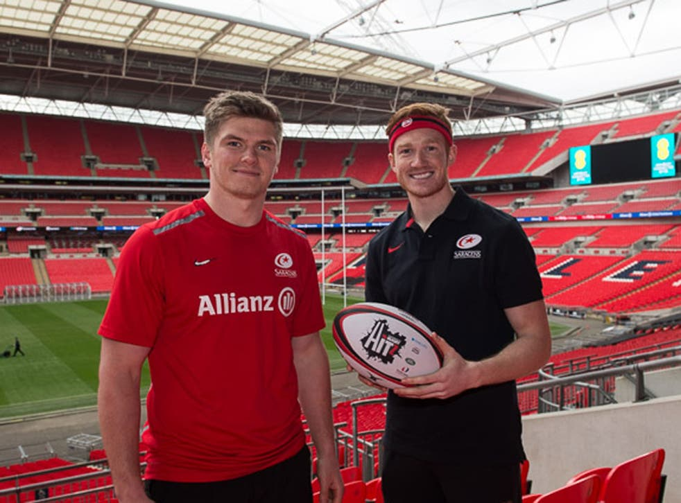 Greg Rutherford (right) takes on the Catch-a-Million challenge for Sport Relief at half time during Saracens v Harlequins at Wembley on March 22nd. The match kicks off at 3pm and is exclusively live on BT Sport