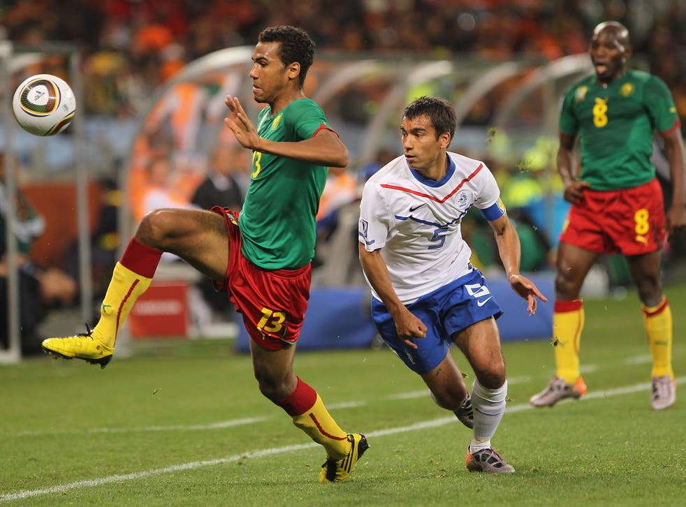 Eric Maxim Choupo-Moting of Cameroon in action against the Netherlands