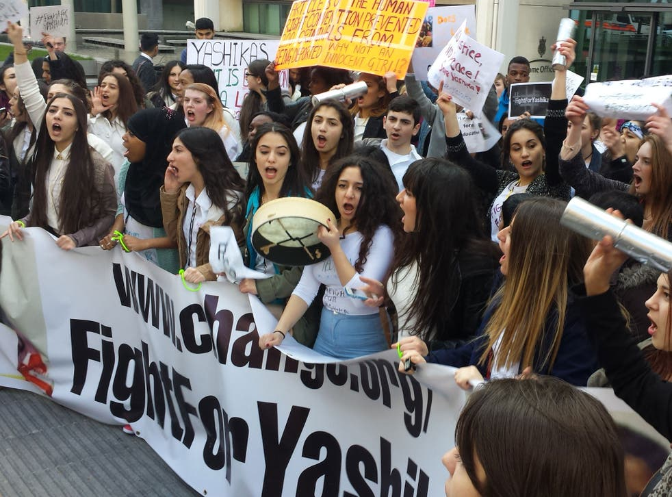 Supporters of Yashika Bageerathi present a petition to the Home Office to stop her being deported