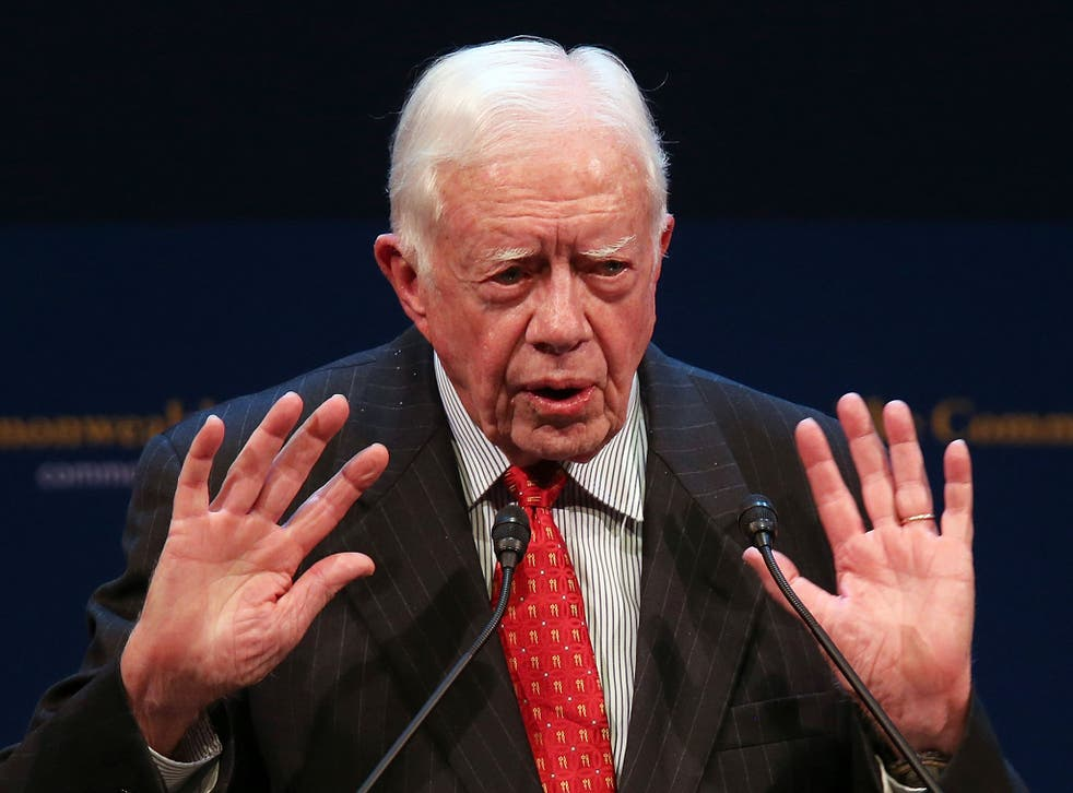 Former U.S. President Jimmy Carter speaks at the Commonwealth Club of California on February 24, 2013 in San Francisco, California. Former President Carter delivered a speech and took questions from the audience during a Commonwealth Club of California ev