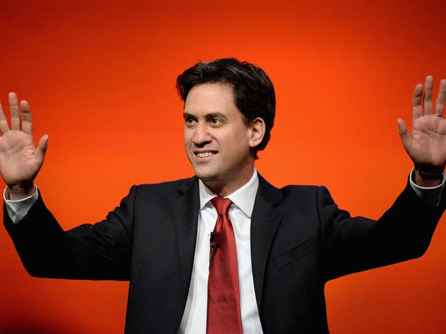 Ed Miliband, leader of the Labour Party gives his speech to the Scottish Labour conference on March 21, 2014 in Perth, Scotland.