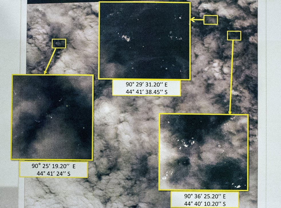 Satellite images showing locations of potential objects related to the search of Malaysia Airlines flight MH370