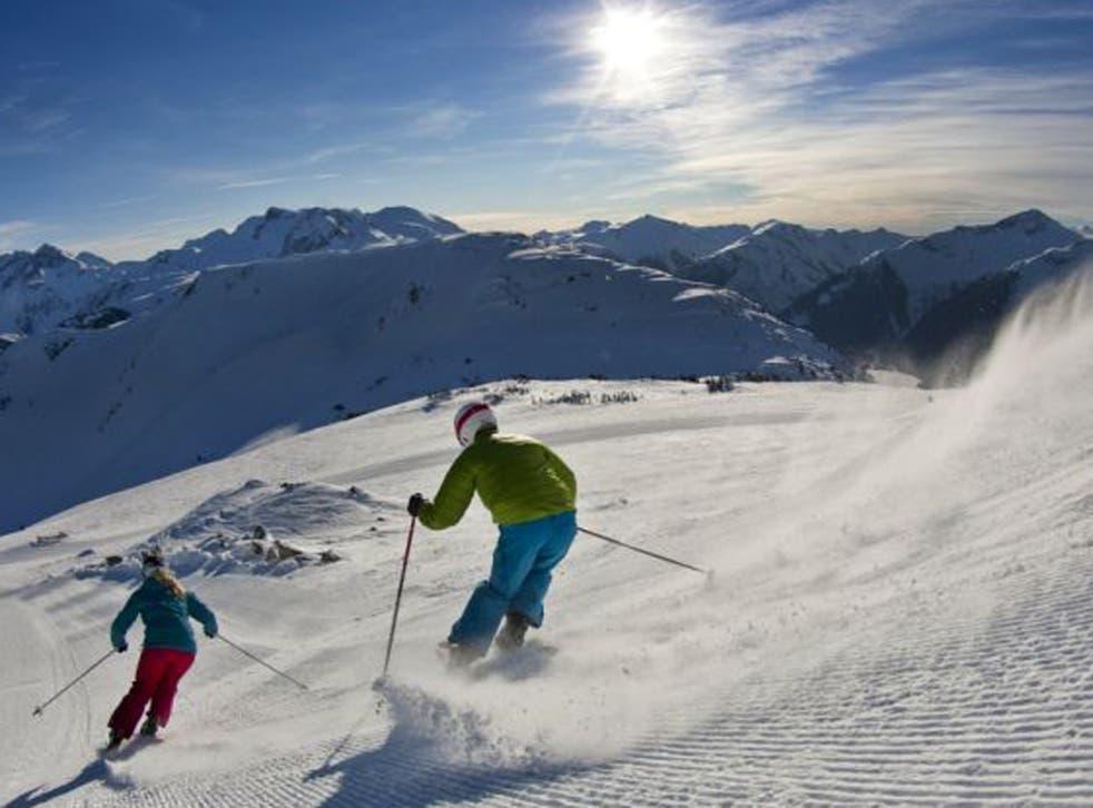 Skiing freshly groomed pistes in Whistler-Blackcomb