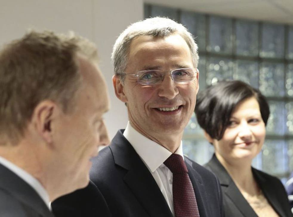 Mr Stoltenberg called the crisis with Russia over Ukraine 'a brutal reminder of how important Nato is'.