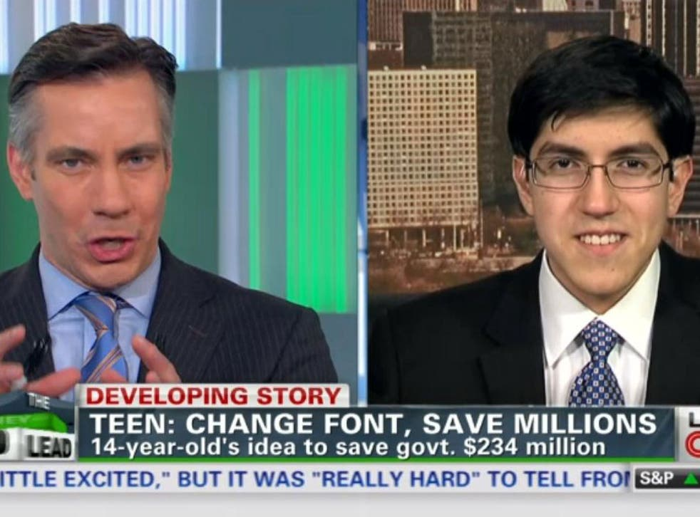 Suvir Mirchandani calculated that by using Garamond font instead of Time New Roman , it would use 25 per cent less ink because each character is lighter and thinner
