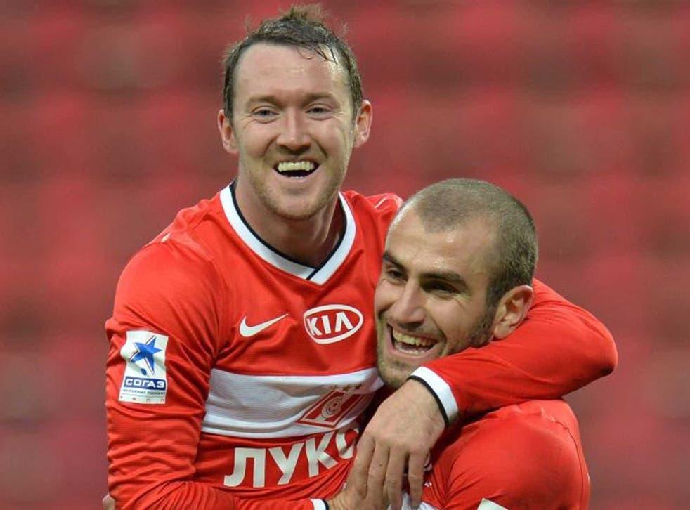Aiden McGeady celebrates after scoring a goal