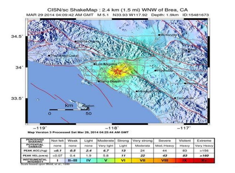 A shake map released by the US Geological Survey (USGS) shows the location and intensity of a 5.1 Richter scale earthquake in California