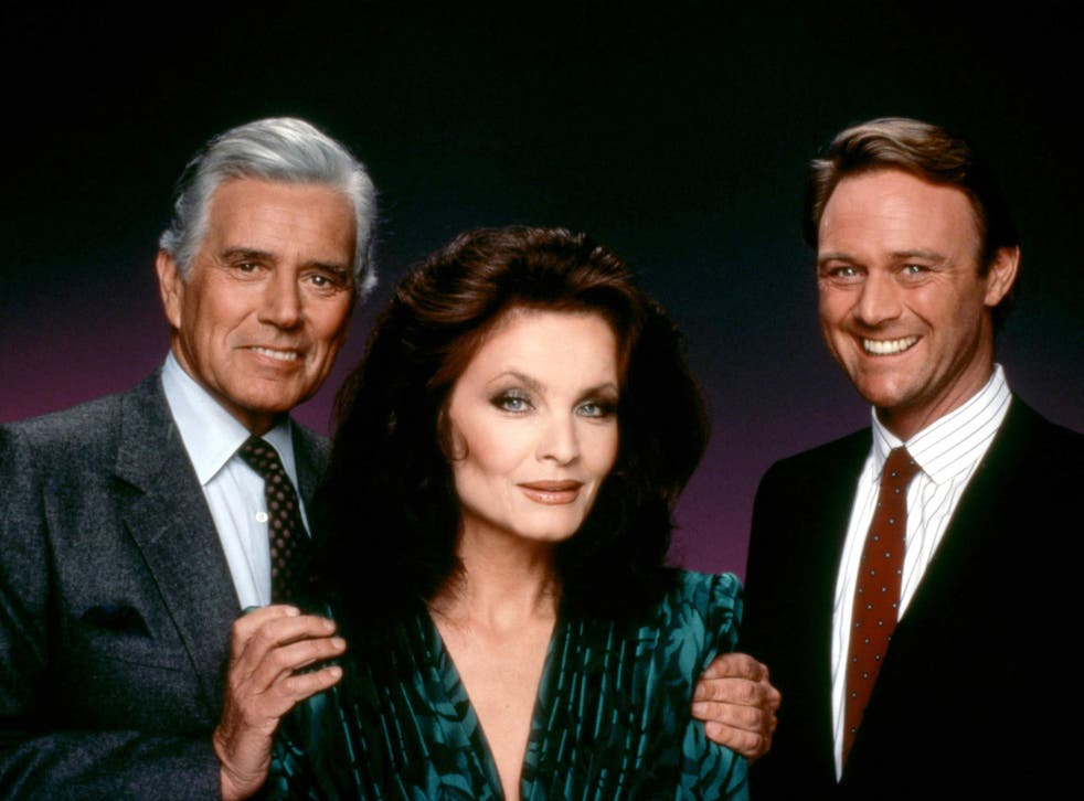Kate O'Mara with her Dynasty co-stars John Forsythe and Christopher Cazenove in 1989