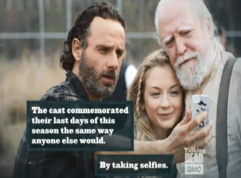 Andrew Lincoln on the Walking Dead set