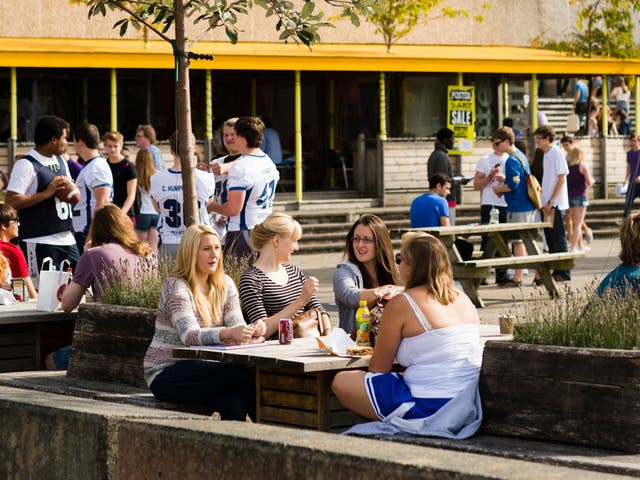 Aberystwyth University undergraduate students, pictured, on campus