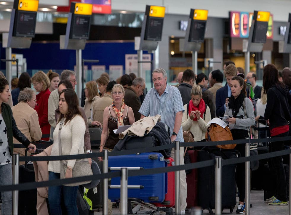 Passengers at Heathrow's terminal 5.