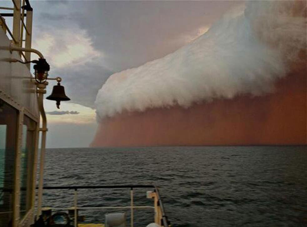 A towering red dust storm in Perth, Australia