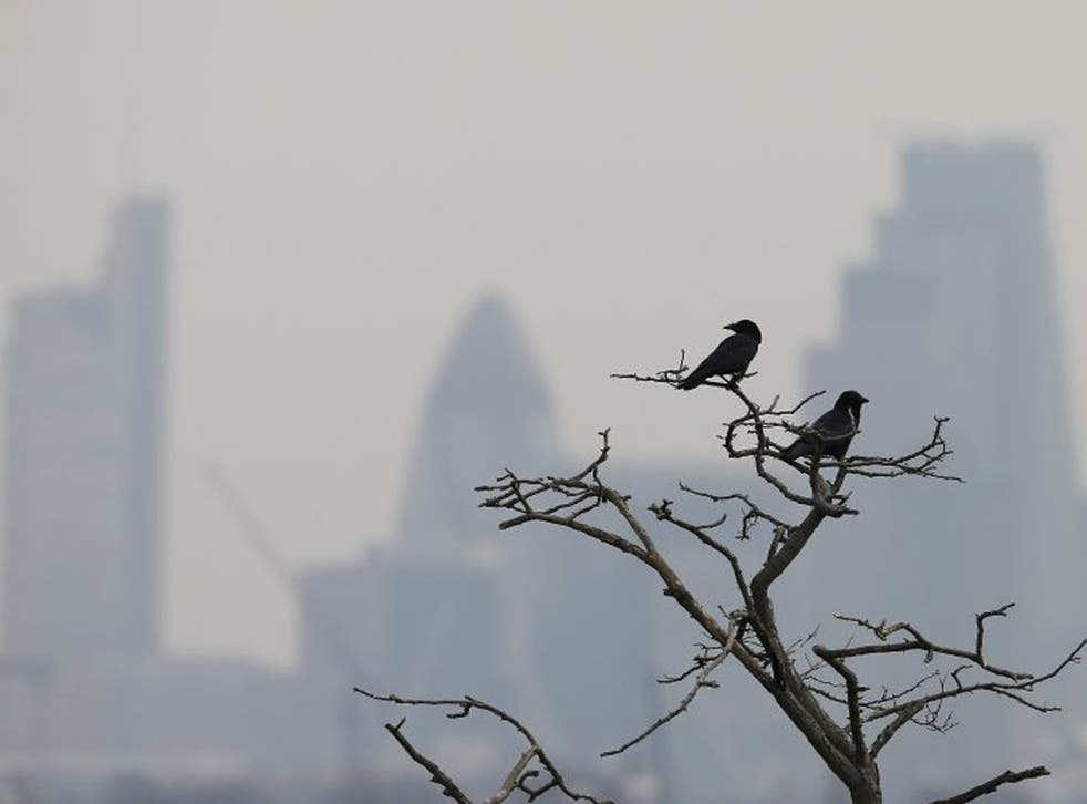 Smog surrounds the City of London