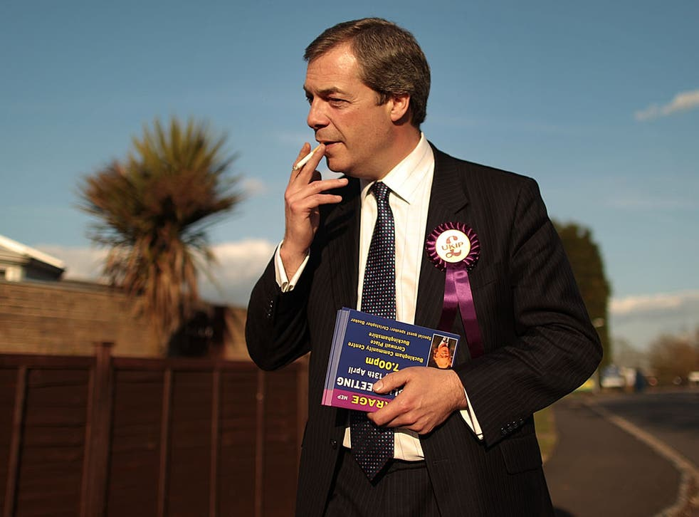 United Kingdom Independence Party (UKIP) member Nigel Farage campaigns on April 8, 2010 in Winslow, England.
