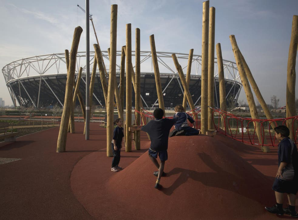 The new adventure play area, just outside the main stadium at the Queen Elizabeth Olympic Park (AP)