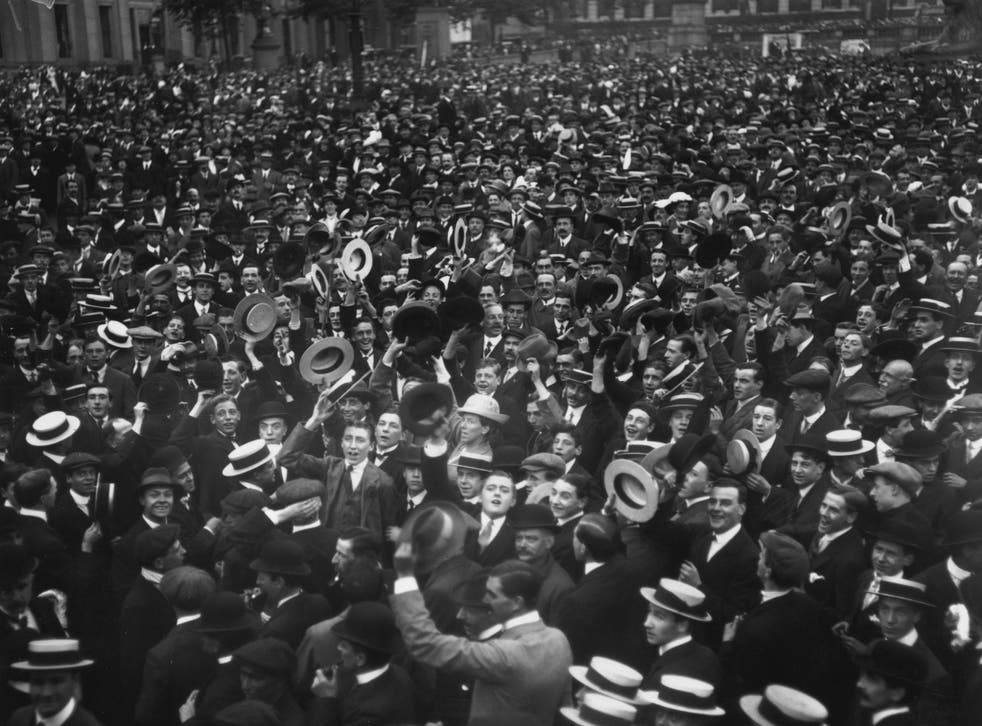 Crowds in central London cheer Britain's declaration of war on Germany