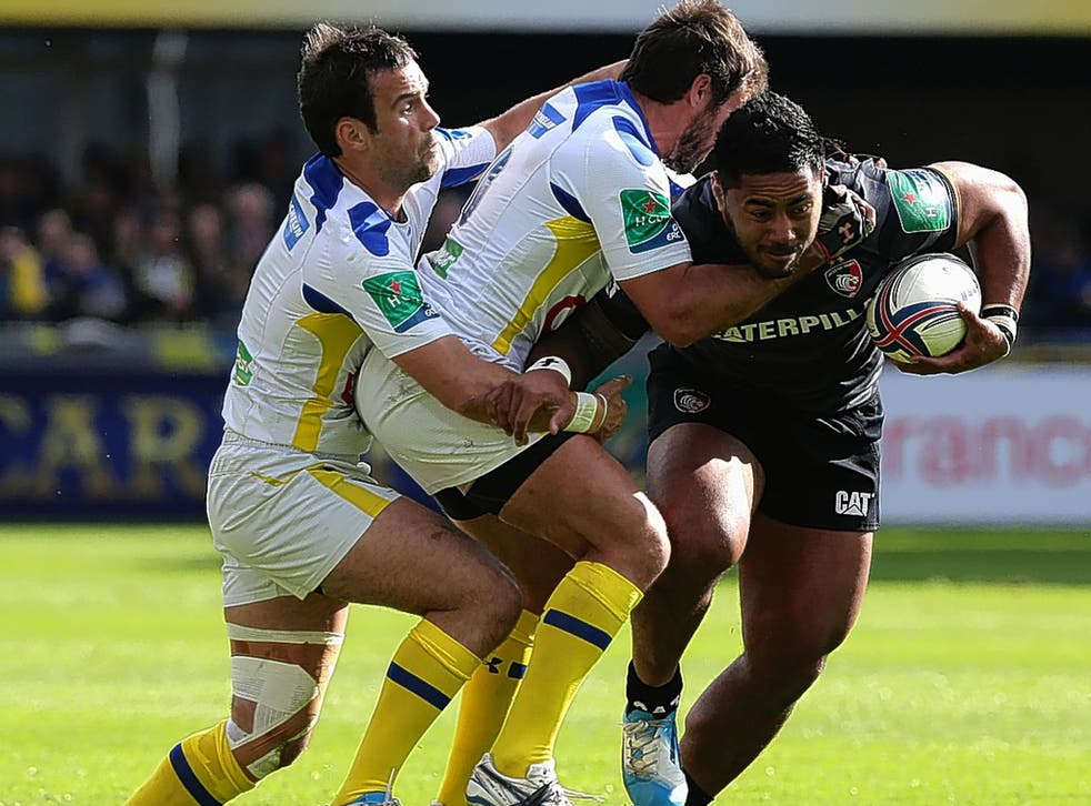 Manu Tuilagi attempts to break through the Clermont Auvergne defence