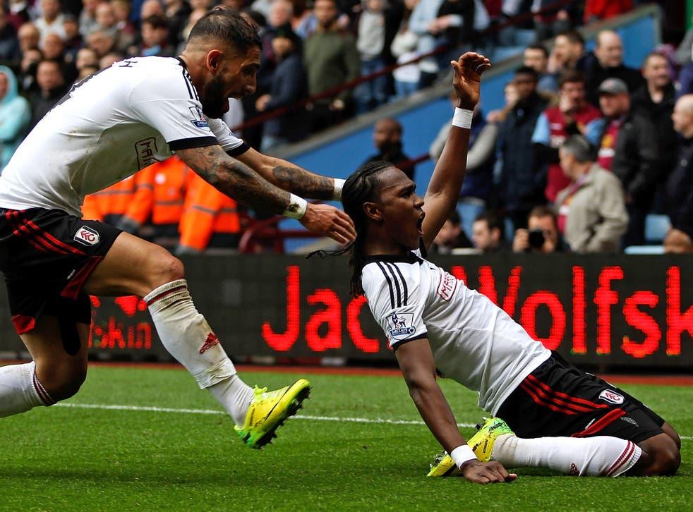 Hugo Rodallega celebrates scoring the winning goal against Aston Villa