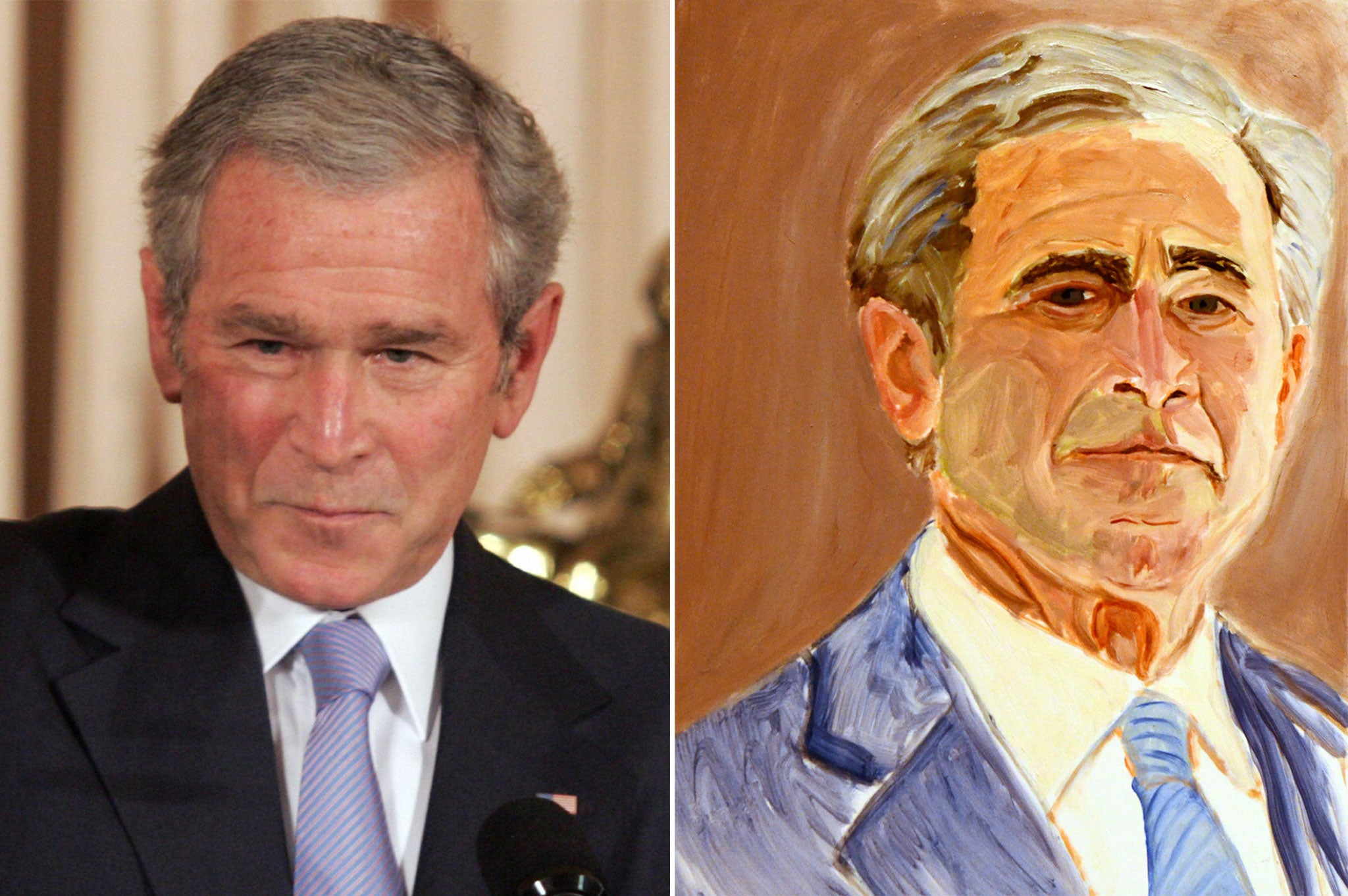 George Bush's paintings are 'copied off Google images and