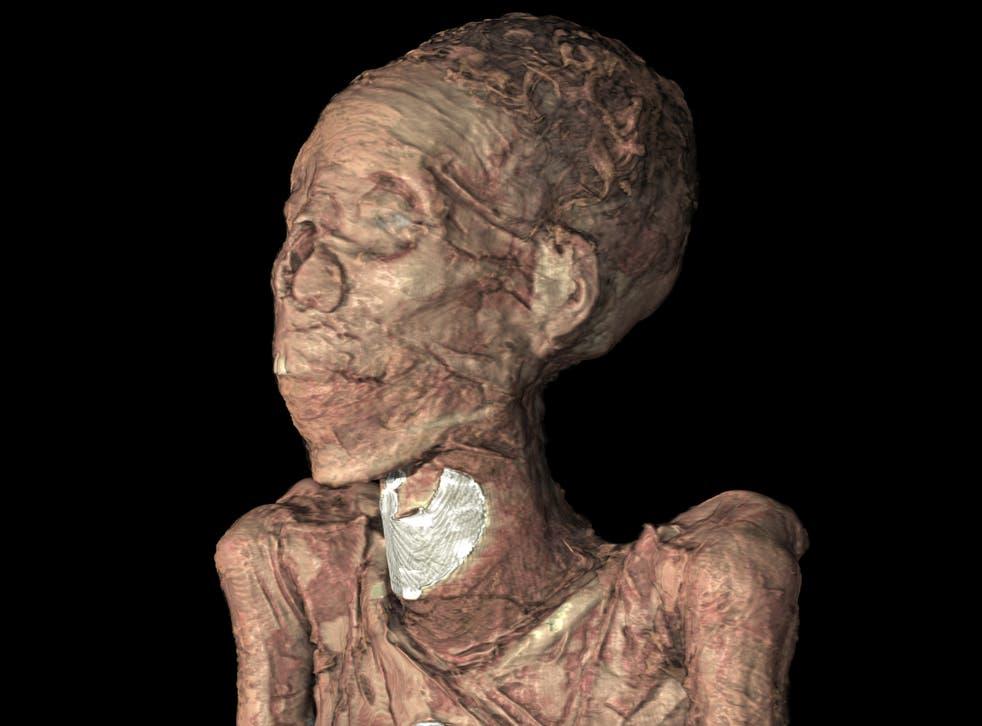 A 3D model of Egyptian chantress Tamut's face