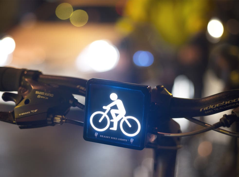 Lightbulb moment: Brainy Bike Lights, developed by Crawford Hollingworth, emit an LED image of a cyclist, enabling motorists to subconsciously register a bike's presence sooner