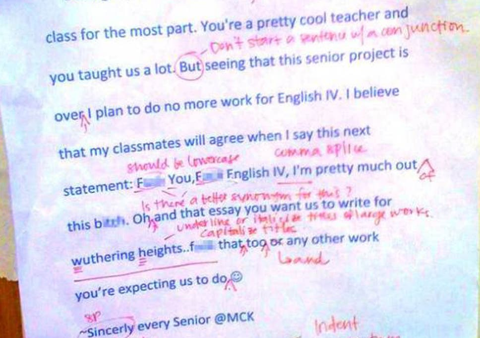 english teacher corrects abusive letter proofreading takes five