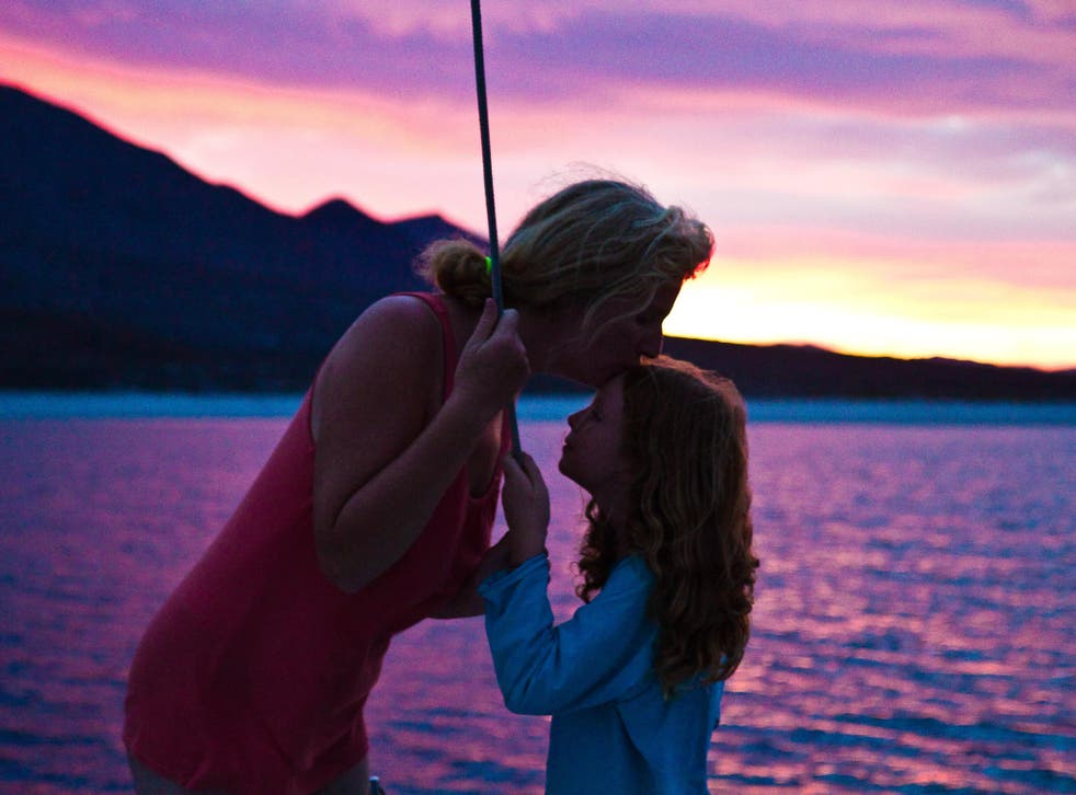 Shore start: Diane Selkirk and her daughter, Maia (now aged 12), at sunset in Mexico