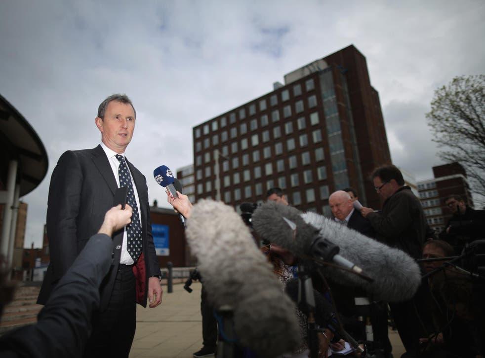 Former deputy speaker of the House of Commons Nigel Evans speaks to the media