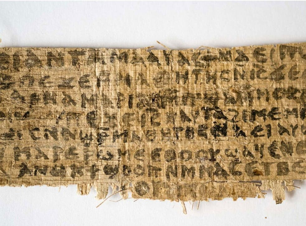 Jesus' wife: File photo released by Harvard University shows a fragment of papyrus that divinity professor Karen L. King said is the only existing ancient text that quotes Jesus explicitly referring to having a wife.