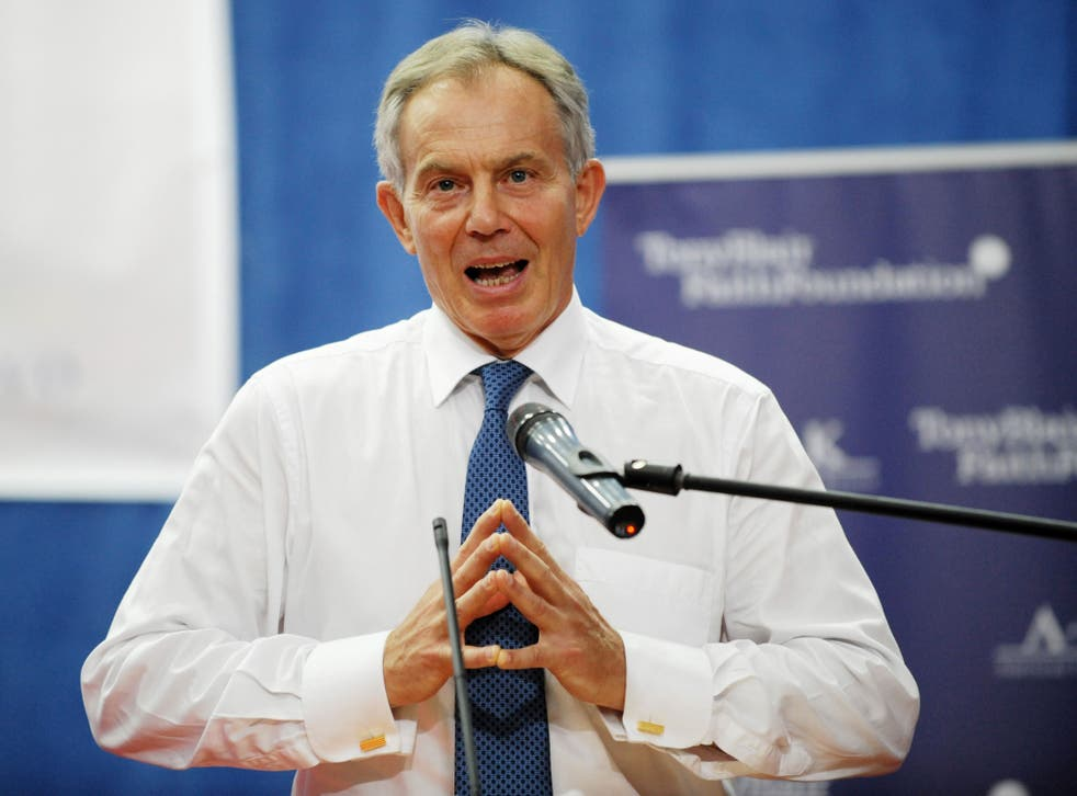 Tony Blair, pictured speaking in his role as founder of the Tony Blair Faith Foundation at the University of Pristina in 2012