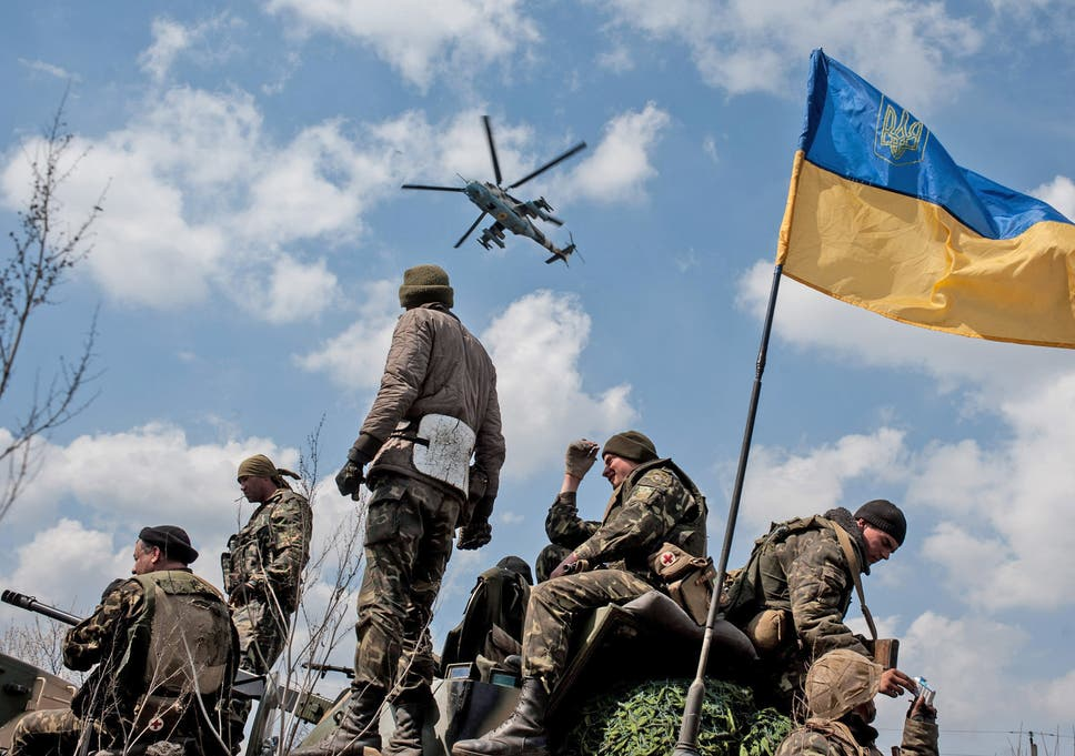 Ukrainian Sol Rs Fly The Flag On Top Of Their Armoured Vehicle In Kramatorsk