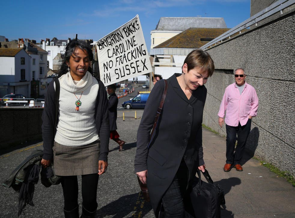 Caroline Lucas arrives at court in Brighton yesterday, where she was cleared of public order offences