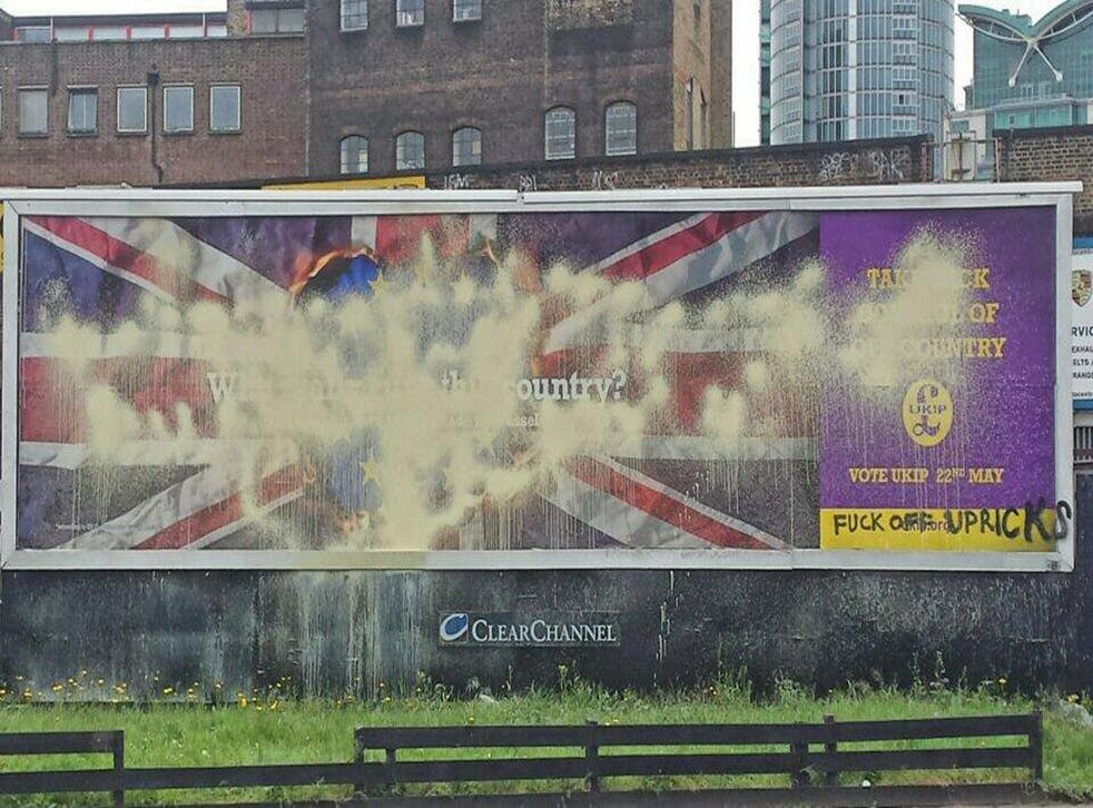 Users on Twitter shared this image showing the Ukip poster near Vauxhall station in south London, where it has been selectively altered
