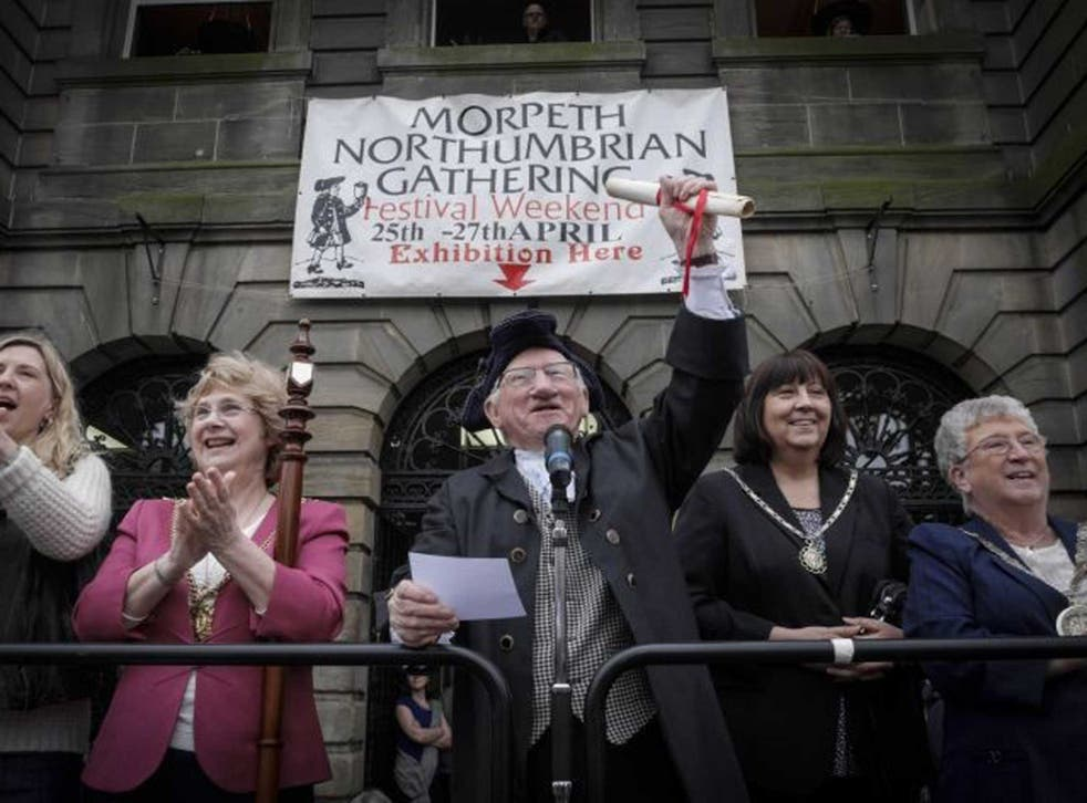North wind: Visitors watch the parade yesterday at the Northumberland Gathering