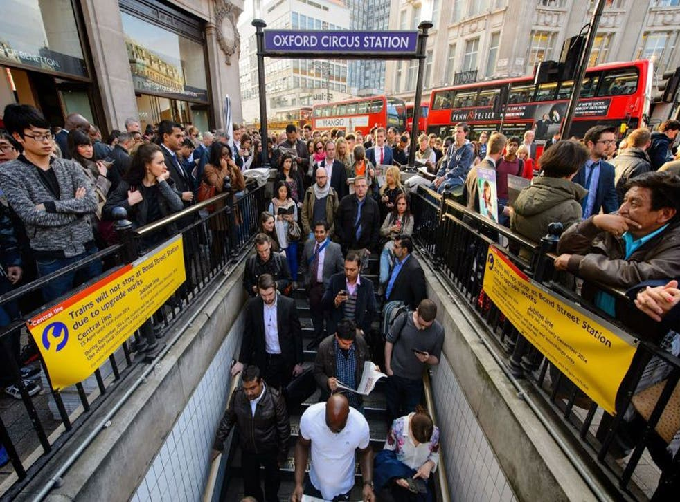 People queueing outside Oxford Circus station during this week's 48-hour walkout